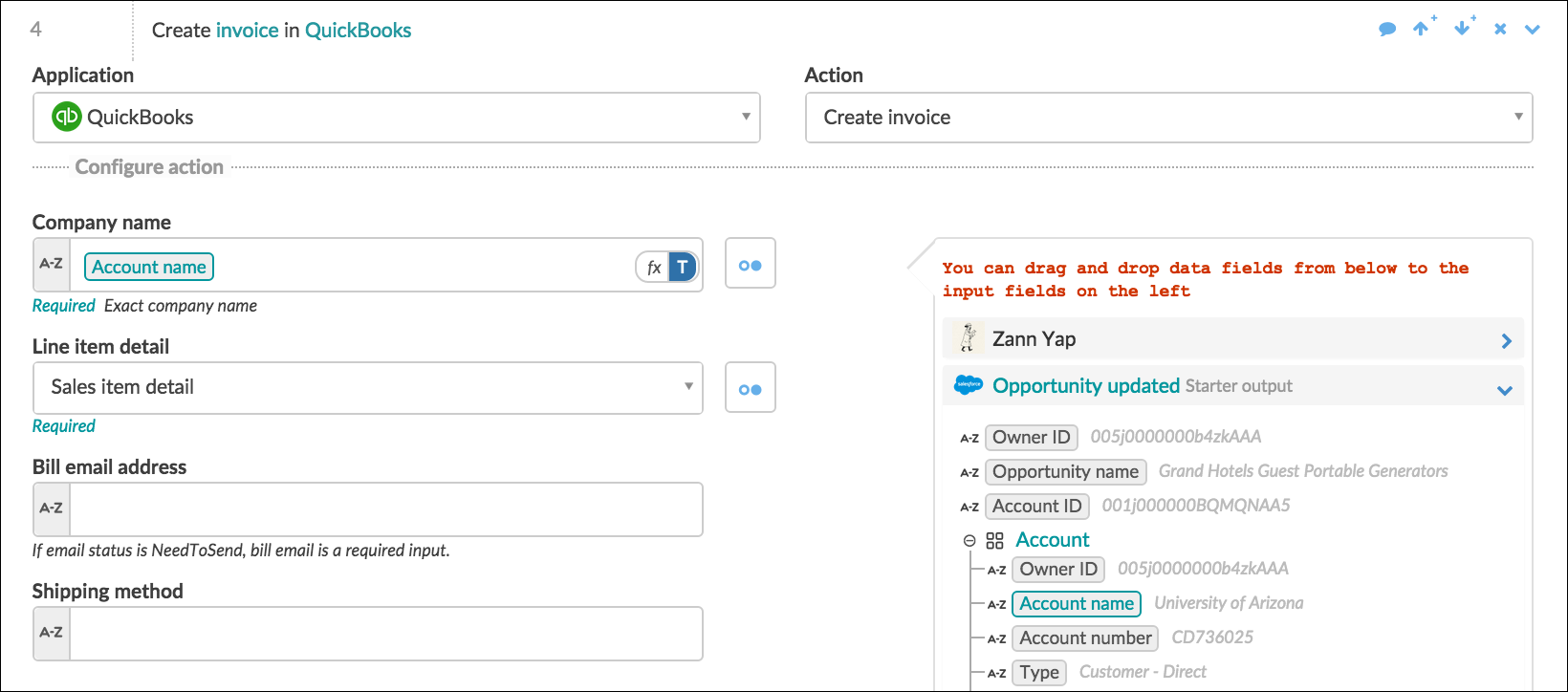 How to build a workato recipe the connector by workato for Create and invoice
